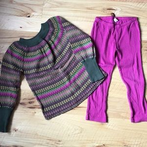GUC sz 5 Tea Collection sweater sz 4 leggings